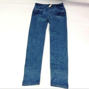 New Isadora Denim Pattern Leggings Size S/M Blue